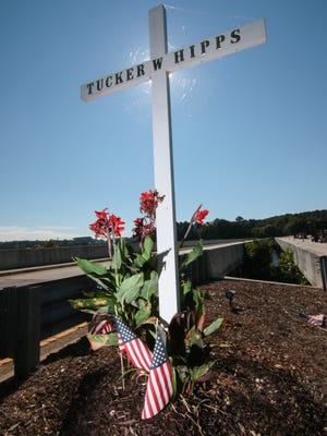 A memorial stands on the S.C. 93 bridge for Tucker Hipps, the Clemson University student who died under unknown circumstances while on an early morning run with fraternity brothers two years ago. His body was found under the bridge the afternoon of Sept. 22, 2014.