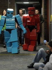 Disguised as a blue robot, Mercedes Guetschow, 12,