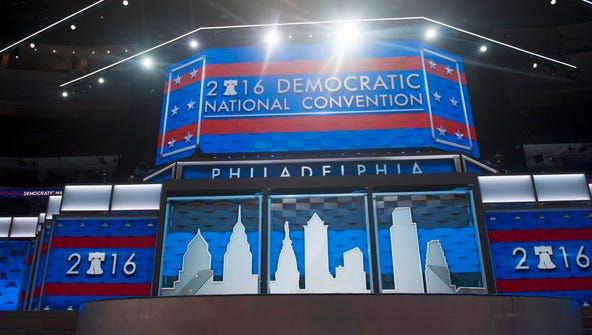 Democratic National Convention stage at Wells Fargo