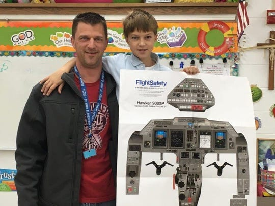 On Oct. 20, Kevin Schwerdtfeger, Kody's dad, came and spoke to the St. Mary's class about airplanes and the plane that he flies. He flies the Hawker 900 XP. The students learned that auto pilot runs the plane, and the pilots are there to make sure nothing goes wrong during the flight. There is Wi-Fi on airplanes. Mr. Schwerdtfeger has been to all 50 states. He has been in situations where he has had to land his airplane and reroute. Every year, Mr. Schwerdtfeger has to relearn everything about the planes he flies. We really enjoyed having Mr. Schwerdtfeger in our classroom.