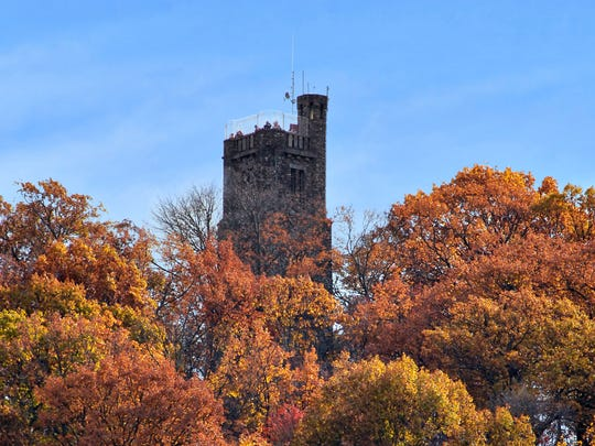Bowman's Hill Tower at the Park provides a 14-mile view of the Bucks County and Hunterdon County Valley along the Delaware River.