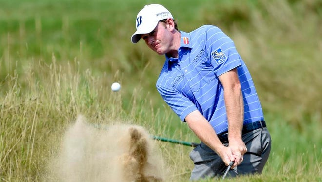 Brandt Snedeker plays from a bunker to the ninth green during the final round of the 2015 PGA Championship on Sunday.