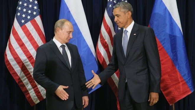 Russian President Vladimir Putin and President Obama in New York in 2015.