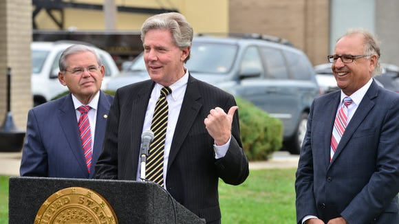 U.S. Rep. Frank Pallone, D-Monmouth, appeared at a press conference in East Rutherford in 2015 with U.S. Senator Robert Menendez and East Rutherford Mayor James Cassella.