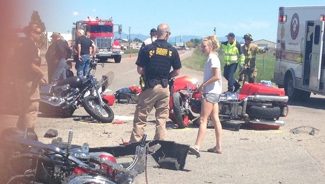 A car that was rear-ended by an SUV was pushed into four motorcycles on Vaughn Road near the Frontier Inn Sunday.