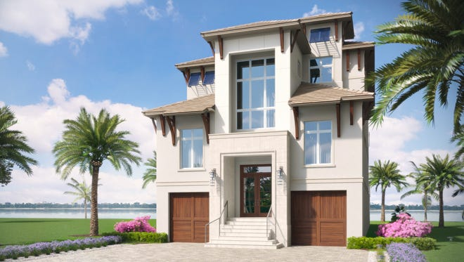 Construction of Seagate Development Group's Sabbia model in the Miromar Lakes Beach & Golf Club's Sardinia neighborhood is on schedule for completion this fall. The three-level, 6,227-square-foot under air Sabbia model is $4.65 million with furnishings.