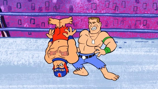 "John Cenastone (voiced by John Cena) takes on all comers in the ring in ""Flintstones and WWE: Stone Age Smackdown."""