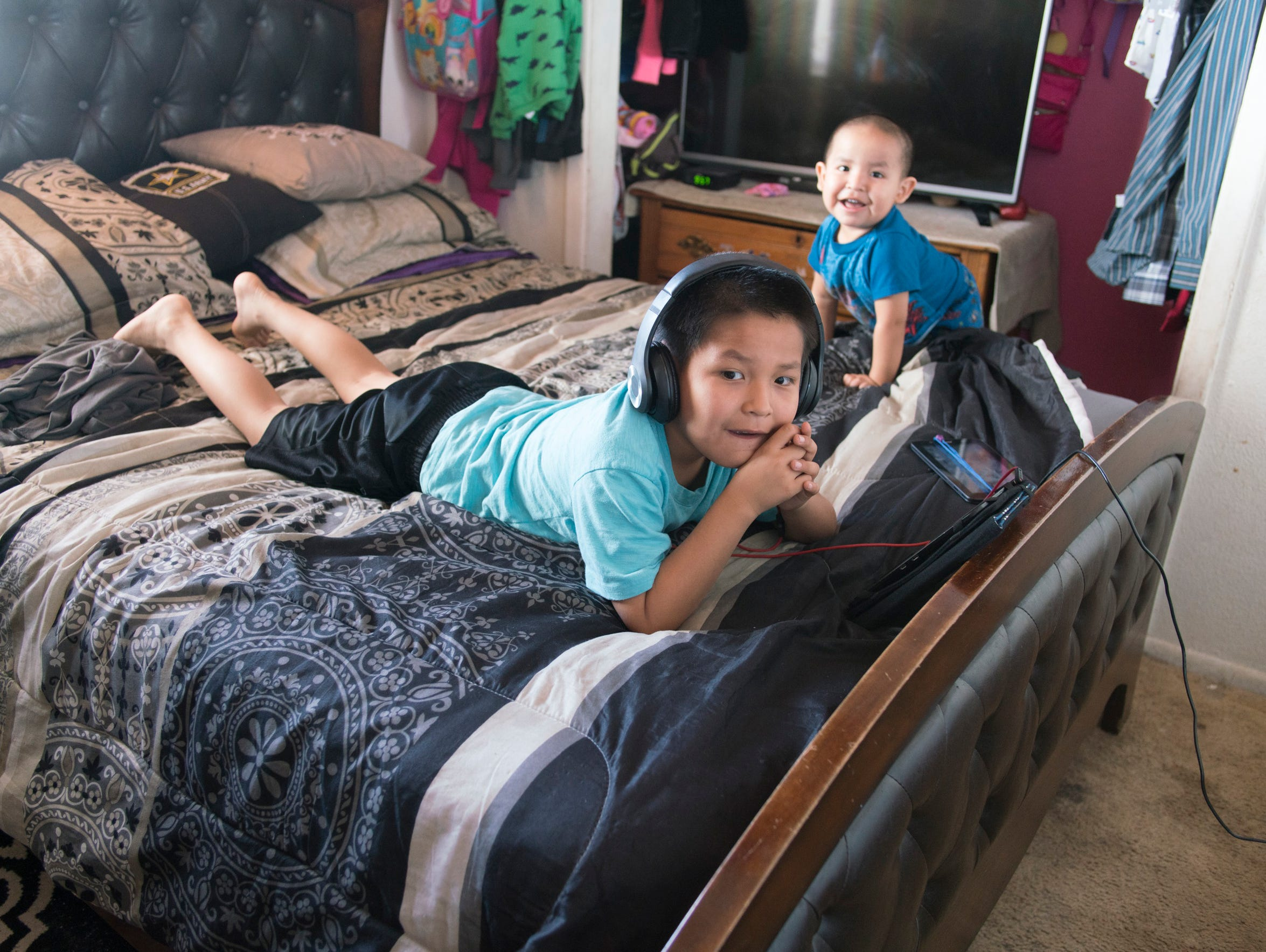 Xavier and Nicholas Lee at the family home.