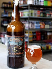 La Parcella by Jolly Pumpkin Artisan Ales. Pumpkin beers photographed on location at 8 Degrees Plato Beer Company on Cass Avenue in Detroit,  Tuesday, October 2, 2015.
