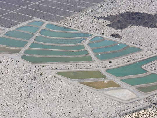 Water from the Colorado River fills ponds that are used to recharge the aquifer at the Thomas E. Levy Groundwater Replenishment Facility in La Quinta on Tuesday, April 15, 2015.