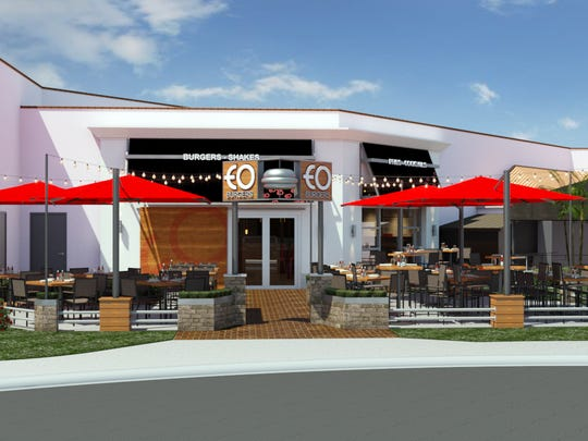 A rendering of the new EO Burgers, which is set to open at Bell Tower Shops in 2016.