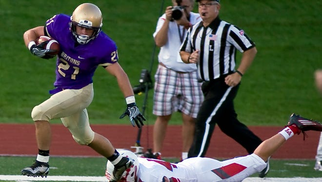 Albion College's Collin Poore picked up a fumble and returned it for a touchdown against Wabash College on Sept. 3.