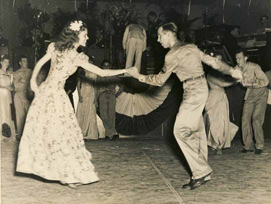 Couple dancing during a jitterbug contest at Maxwell
