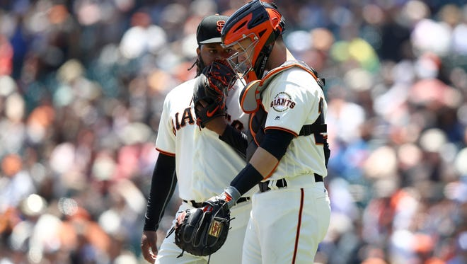 Catcher Buster Posey was hopeful the Giants might continue their roll, but ace Johnny Cueto was beaten by the Dodgers on Wednesday.