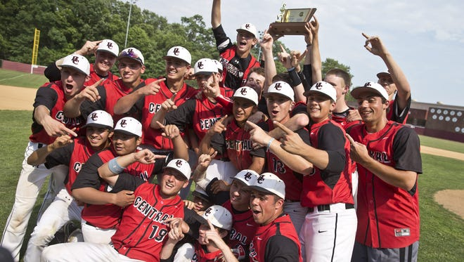 Doug Hood/staff photographer The Hunterdon Central baseball team celebrates its victory over Morristown in the NJSIAA Group IV  final on Saturday. Hunterdon Central celebrates victory as the game ends. Hunterdon Central defeats Morristown in the NJSIAA Group IV baseball final.Toms River, NJ Saturday, June 11, 2016@dhoodhood