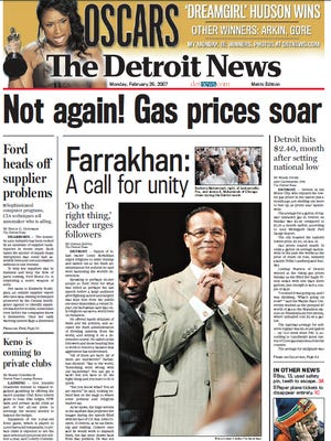 The front page of The Detroit News on Feb. 26, 2007.