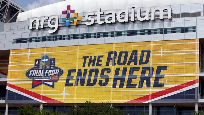 A general view of signs and NRG Stadium before the Final Four.