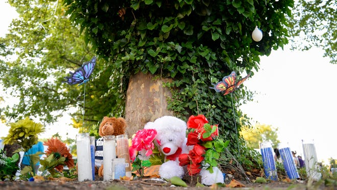 A memorial is made for the late Rashaun Washington, 37,  Thursday, July 19, 2018 in Vineland, N.J. Washington was fatally shot by police this past Saturday.