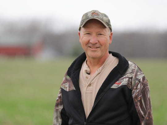 Farmer Jon Reese who grows corn, soybeans, and cereal rye grass uses the more eco-friendly practice of planting cover crops in all of his fields in Peru Ind. on Tuesday, April 24, 2018.  Reese began using no-till farming and cover crops after purchasing nearby farm land that suffered from erosion.