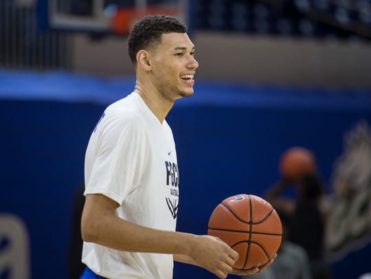 FGCU junior forward Michael Gilmore, a transfer from VCU and Miami, will make his Eagles debut against Oral Roberts at home on Saturday night.