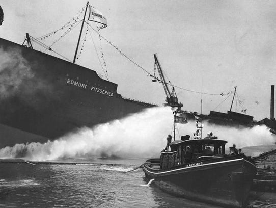 The SS Edmund Fitzgerald is launched in River Rouge