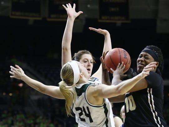 Purdue junior Andreona Keys battles for a loose ball