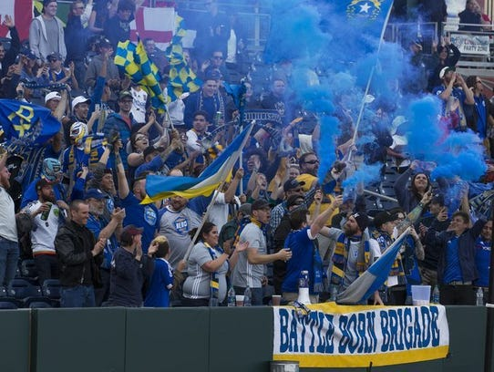 The Battle Born Brigade cheers at a Reno 1868 FC match