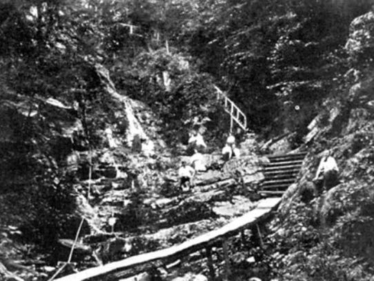 Visitors probe Wildcat Falls near the Susquehanna River,