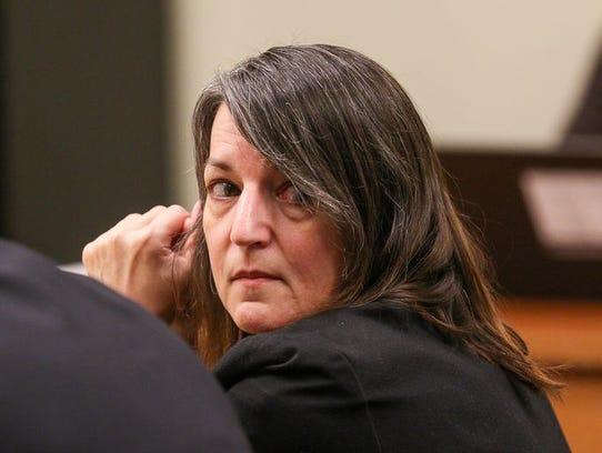 Michelle Lodzinski in court during her 2016 murder