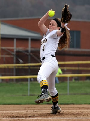 Paint Valley's Mikayla Newland pitches to a Western batter on Tuesday, March 28, 2017 at Paint Valley High School. Newland, now an Akron Zip, recorded her 1,000th career strikeout on April 25, 2017 in a 7-0 win over Unioto.