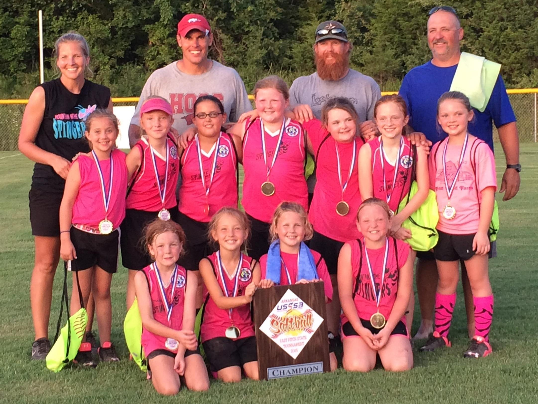 The Stingers, a Twin Lakes Youth Softball team, won the USSSA 8-and-under state championship Saturday at Keller Park. The Stingers came out of the loser's bracket to defeat Tri-County in the championship. Team members are: first row, from left, Jayla Yonkers, Emma Sanborn, Colby Hardin, Kiersten Kennedy; second row, Kinley Clayborn, Brooklyn Arms, Allison Payne, Carly Hardin, Abby King, Ashley McKanna, Adrianne Benedict; third row, coaches Morgan Hardin, Richard Payne, Shawn Hardin and Brian Arms.