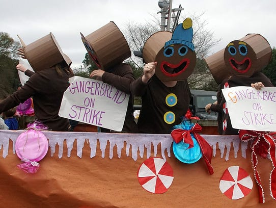 A Gingerbread on Strike float was one of the quirky