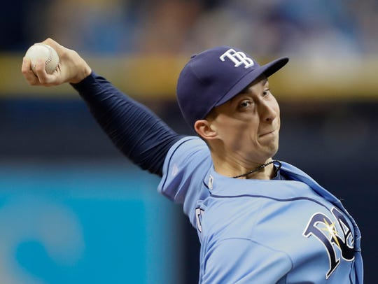 Tampa Bay Rays' Blake Snell pitches to the Seattle