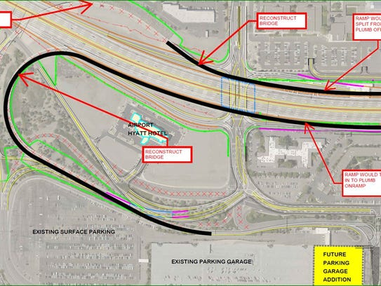 A map of the plan proposed by the Reno-Tahoe Airport