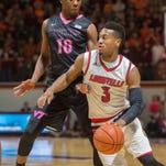 Louisville guard Trey Lewis (3) drives past Virginia Tech guard Justin Bibbs (10) during the first half of an NCAA college basketball game Wednesday, Jan. 27, 2016, in Blacksburg, Va. (AP Photo/Don Petersen)
