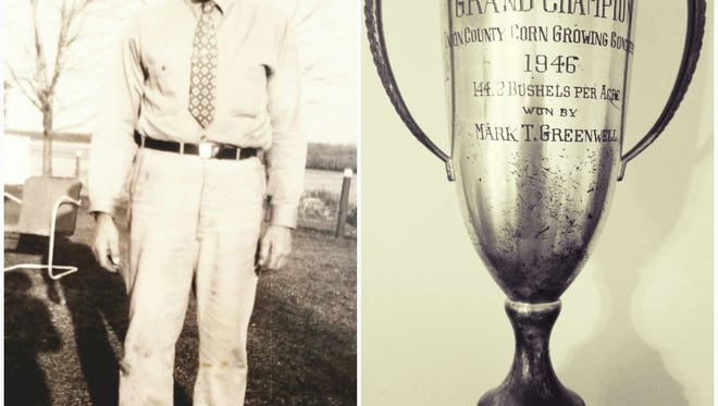 Left is Mark T. Greenwell with his prize winning corn. Show at right is the trophy he was awarded in 1946.
