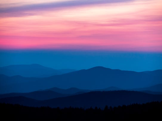 The sun sets over the Smoky Mountains as seen from