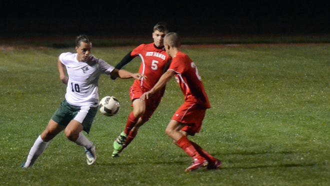 Kinnelon senior and returning starter Steven Kleczkowski, left, will miss at least the first six weeks of the 2017 season after suffering a knee injury earlier this week. Kleczkowski, a striker, scored 14 goals last fall in leading the Colts to the league title.