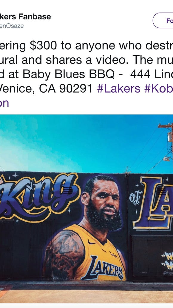 Someone has already vandalized LeBron James' Lakers mural in Los Angeles