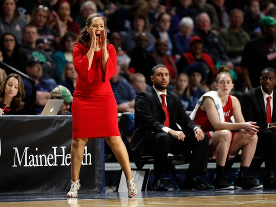 Hartford head coach Kim McNeill shouts instructions to her team in the first half against Maine in the America East Conference women's basketball championship, Friday, March 9, 2018, in Bangor, Maine. (AP Photo/Robert F. Bukaty)