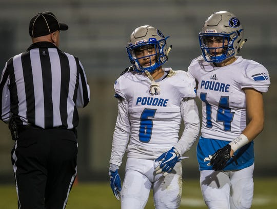 Poudre High School defensive back Caden Oliver (14)