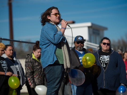 Poudre High School student Tim Cortez, the twin brother and son of Josh and Kelly Cortez, who were killed in a car accident last Thursday while leaving a football team dinner, speaks to a crowd of assembled Poudre students before releasing balloons in remembrance of his loved ones on Wednesday, Nov. 14, 2017, at Poudre High School in Fort Collins, Colo.