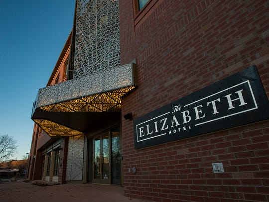 The front entrance to the hotel, as seen Monday, Dec. 4, 2017, before the soft-opening of the Elizabeth Hotel in Old Town Fort Collins, Colo.
