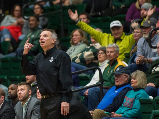 CSU men's basketball head coach Larry Eustachy points to the on-court monitor after one of his players is called for a foul during a game against Arkansas-Fort Smith on Tuesday, Dec. 19, 2017, at Moby Arena in Fort Collins, Colo.