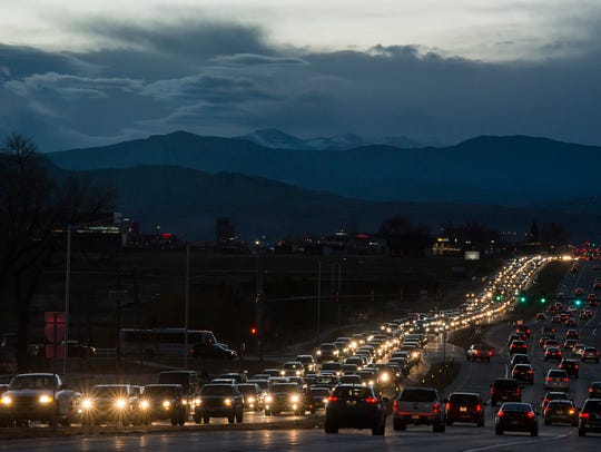 Traffic backs up at the East Harmony Road overpass over Interstate 25. The privately funded economic development group OneNOCO says it successfully brought people together to help bring new funding to highway widening efforts.
