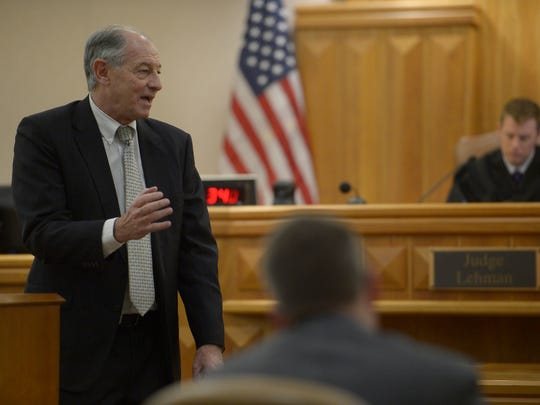 Michaella Surat's attorney, David Lane, gives an opening statement to the jury on Monday, Jan. 8, 2018, at the Larimer County Justice Center in Fort Collins, Colo.