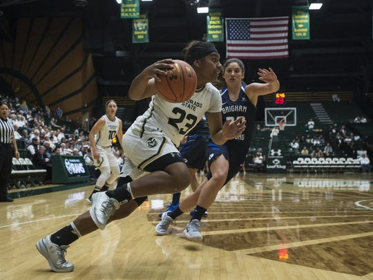 CSU freshman guard Grace Colaivalu drives to the basket against BYU on Dec. 2. Colaivalu is the Mountain West's second-leading socrer.