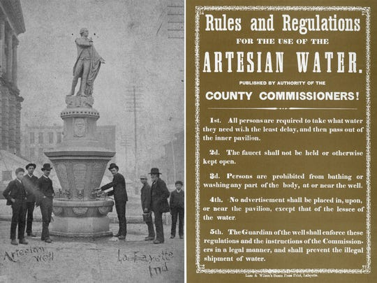 In 1887 — some 29 years after the installation of an artisan well —a statue of Marquis de Lafayette was added to the mineral water fountain at the Tippecanoe County Courthouse. A list of rules and regulations was put in place for the public that used it.