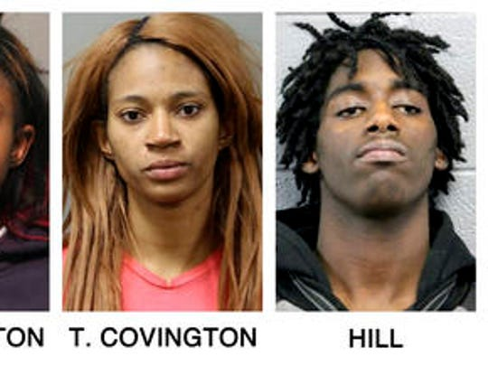 These booking photos provided by the Chicago Police Department show, from left, Tesfaye Cooper, Brittany Covington, Tanishia Covington and Jordan Hill, four people charged, Thursday, Jan. 5, 2017, with aggravated kidnapping and taking part in a hate crime after allegedly beating and taunting a man in a video broadcast live on Facebook.