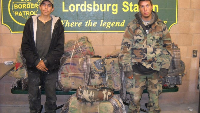 Francisco Cruiel-Arvayo, 19, and Pedro Parra-Cornejo, 20, were arrested near Animas with back packs containing more than 260 pounds of marijuana.